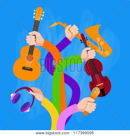 Group Hands Holding Musical Instruments