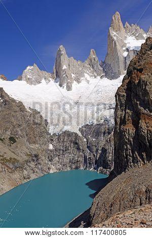 Glacial Lake Below Soaring Peaks