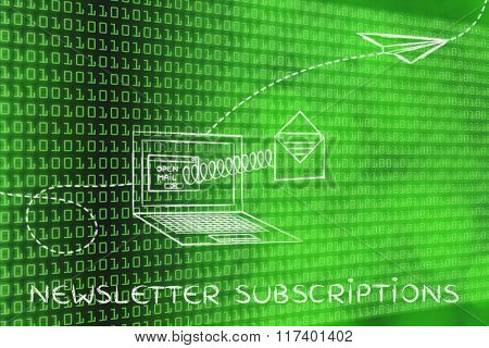 Email Coming Out Of A Computer Screen With A Spring, With Text Newsletter Subscriptions