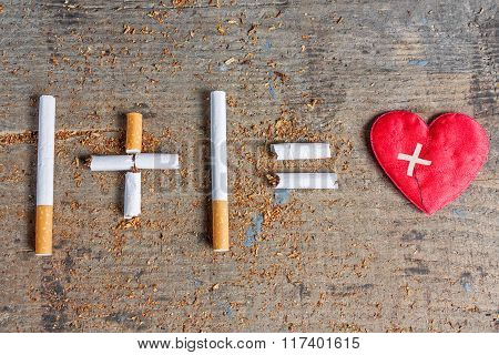 Harm of smoking. Diseased heart