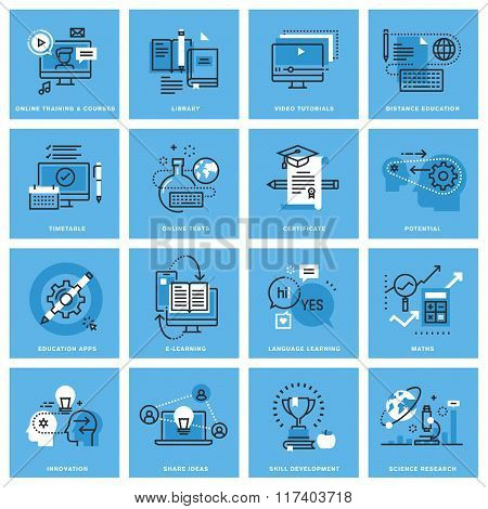 Set of thin line concept icons of distance education, online training, skill development, education apps. Premium quality icons for website, mobile website and app design. poster