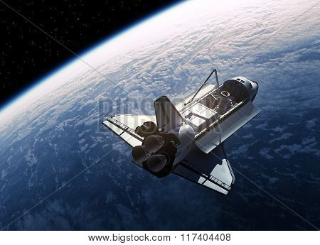 Space Shuttle In Space. Realistic 3D Scene. poster