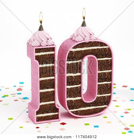 Number 10 Shaped Chocolate Birthday Cake With Lit Candle