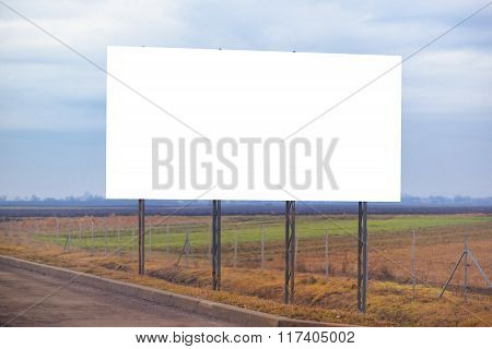 Blank Billboard Hoarding By The Roadway