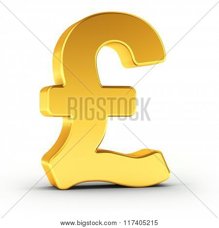 The British Pound symbol as a polished golden object over white background with clipping path for quick and accurate isolation.