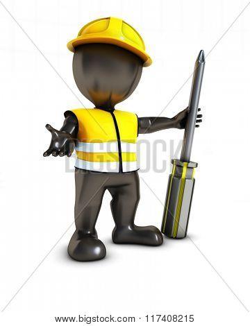 3D Render of Morph Man Builder with screwdriver