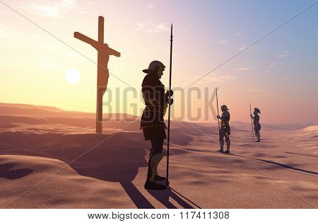 Crucified Jesus and the soldiers in the desert.