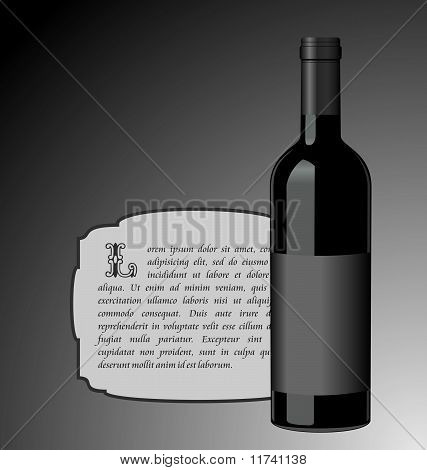 Illustration The Elite Wine Bottle With Black Blank Label