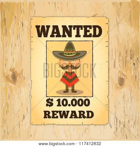 Old styled wild west poster Wanted reward. On wooden wall texture poster