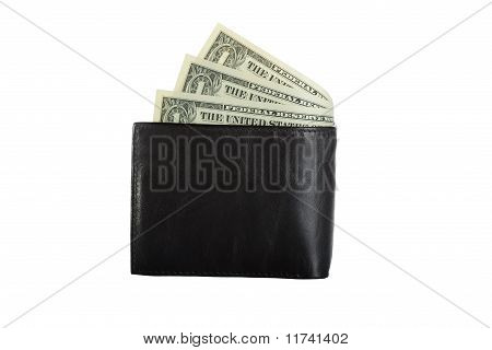 black leather wallet with bills inside