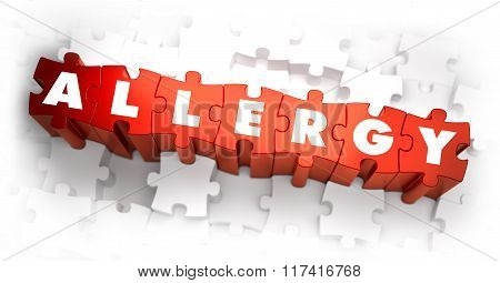 Allergy - White Word on Red Puzzles on White Background. 3D Illustration. poster