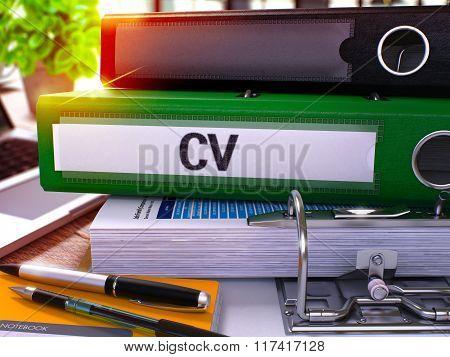 Green Office Folder with Inscription Cv