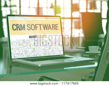 CRM Software - Concept on Laptop Screen.