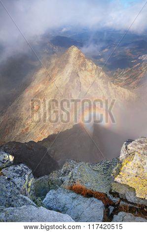 Brocken Spectre View From Rysy Peak In High Tatras