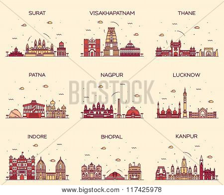 Set of Indian cities skylines Surat Visakhapatnam Thane Patna Nagpur Lucknow Indore Bhopal Kanpur Trendy vector illustration linear style poster