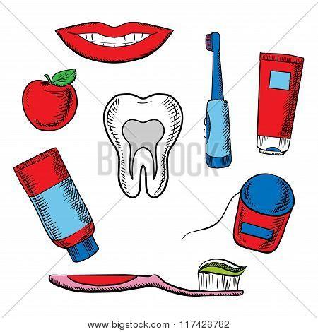 Dental hygiene objects on white background