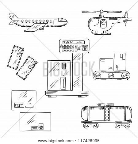 Air and rail delivery service icons