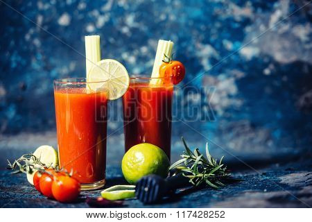 Alcoholic Beverage, Cocktail Drink, Bloody Mary Served Cold In Restaurant