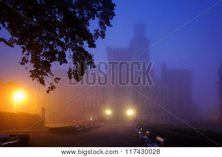 Mysterious Castle In Fog Night