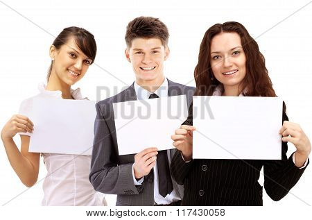 group of young smiling business people.