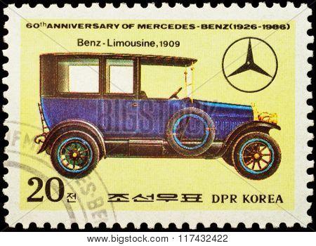 Old Car Benz Limousine (1909) On Postage Stamp