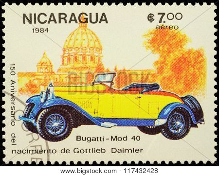 Old Car Bugatti Type 40 (1926) On Postage Stamp
