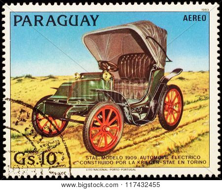 Old Electric Car Stae (1909) On Postage Stamp