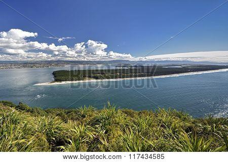 Matakana Island and entrance to harbor from Mount Maunganui