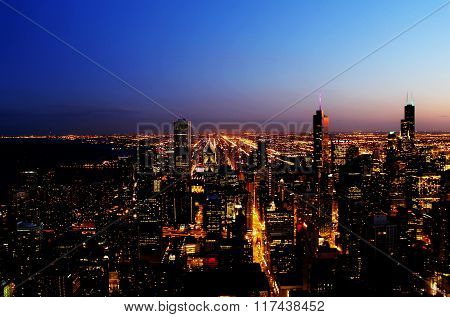 Downtown Chicago skyline aerial twilight