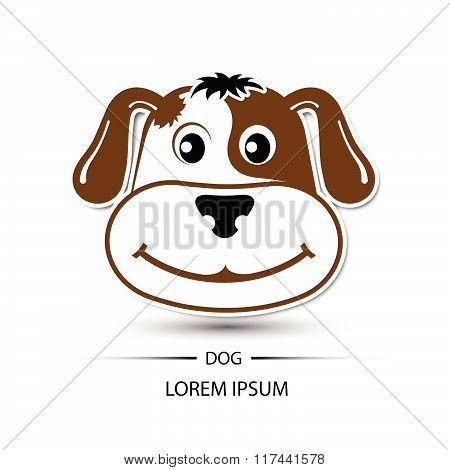 Dog Face Beatific Smile Logo And White Background Vector Illustration