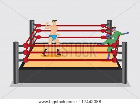 Wrestler dressed in costume fall back on the rope of wrestling ring after getting a punch from opponent. Vector illustration on wrestling sport entertainment industry. poster