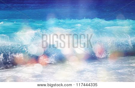 Background Of Blurred Beach And Sea Waves With Bokeh Lights