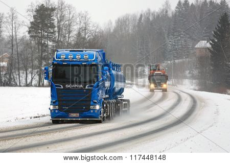 New And Old Scania Trucks On The Road
