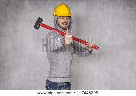 Worker Shooing Thumbs Up