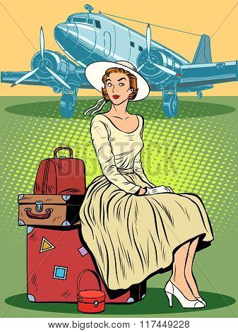 woman passenger airport baggage
