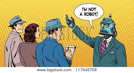 robot presidential candidate gives interview pop art retro style. Lies in politics. Political candidate. Technology and progress. poster