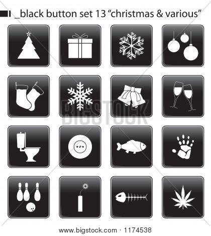 Black Button Set 13