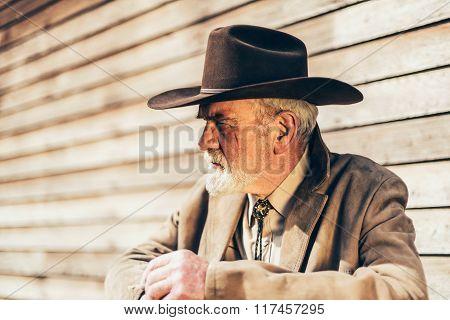 Bearded Senior Western Man Looking Afar