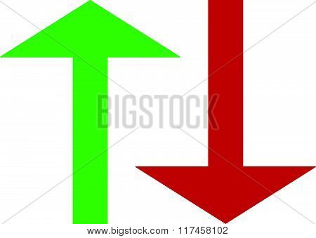 Set Of Up And Down Arrows In Green And Red