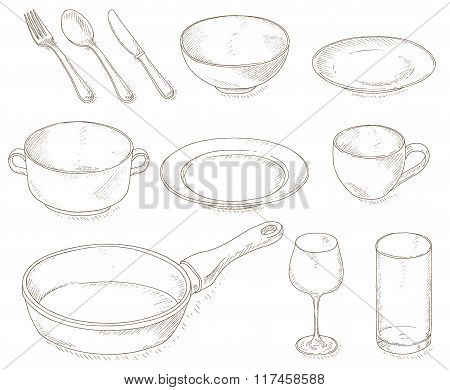 Empty dishes set