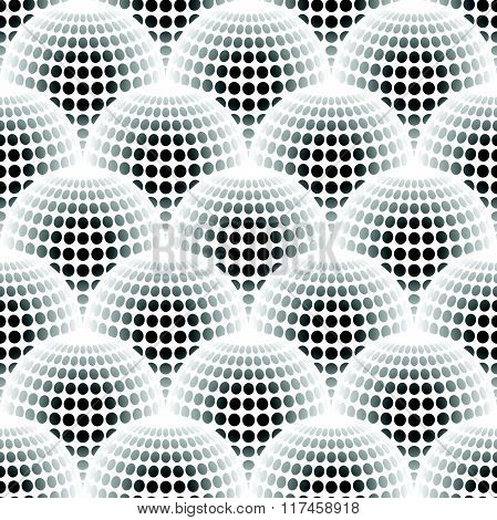 Geometric Abstract Pattern With 3D Spherical Distortion On Mesh Of Circles