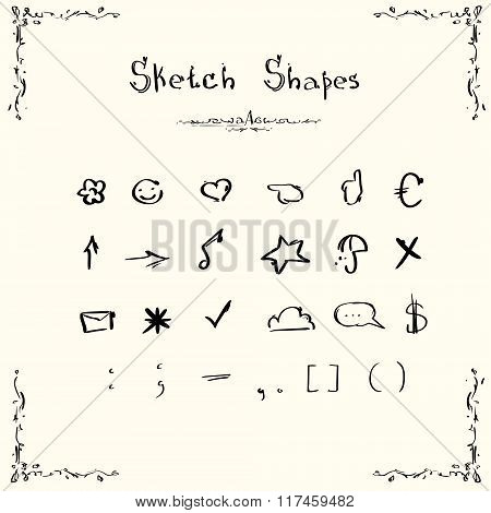 Sketch Shapes Symbols Signs Set Collection