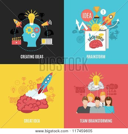 Flat 2x2 abstract compositions presenting creating ideas great idea brainstorm and team brainstorming vector illustration poster