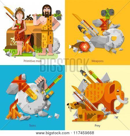 Prehistoric Stone Age Caveman 2x2 Design Concept