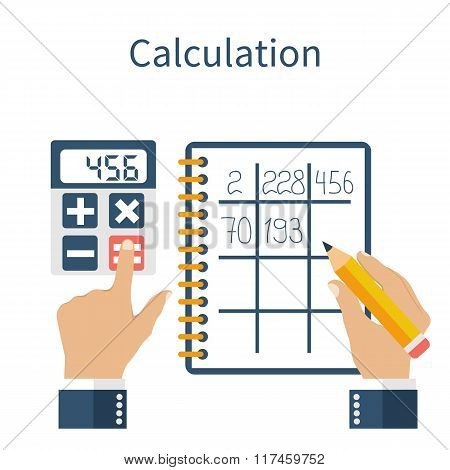 Calculation Concept. Businessman. Inancial Calculations, Counting Profit, Income, Taxes, Statistics,
