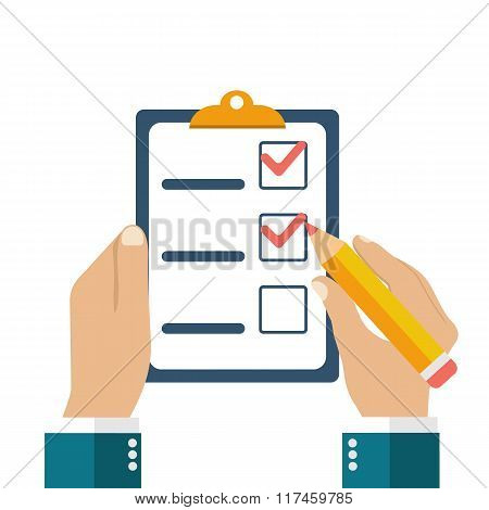 Businessman Holding Checklist And Pencil.