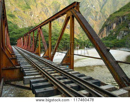Iron railway bridge over Urubamba river near Machu Picchu