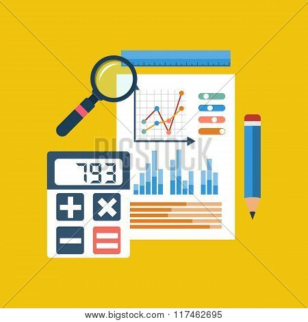 Financial Chart On Piece Of Paper, Calculator, Pencil, Ruler, Magnifier.