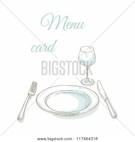 Empty plate and wineglass