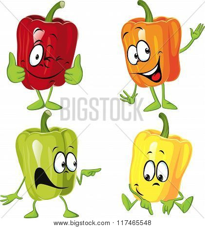 Colored Paprika (pepper) Cartoon Isolated On A White Background